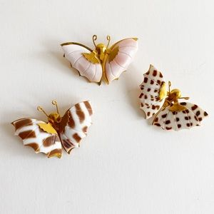 Vintage Lot Of Butterfly Shell Brooches Gold Tone